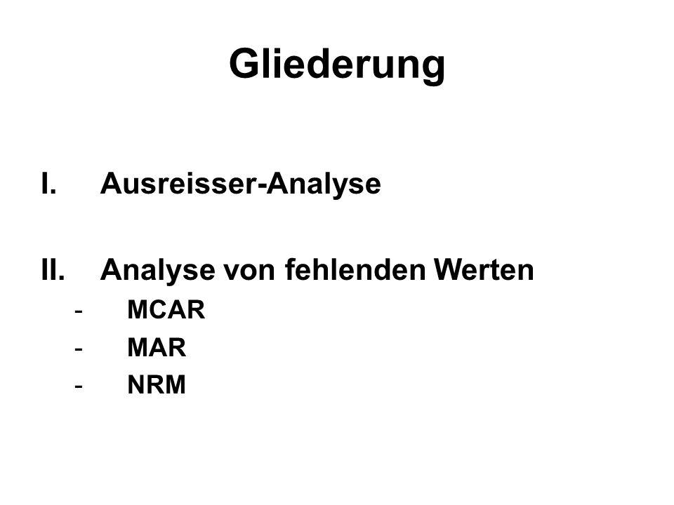 Gliederung Ausreisser-Analyse Analyse von fehlenden Werten MCAR MAR