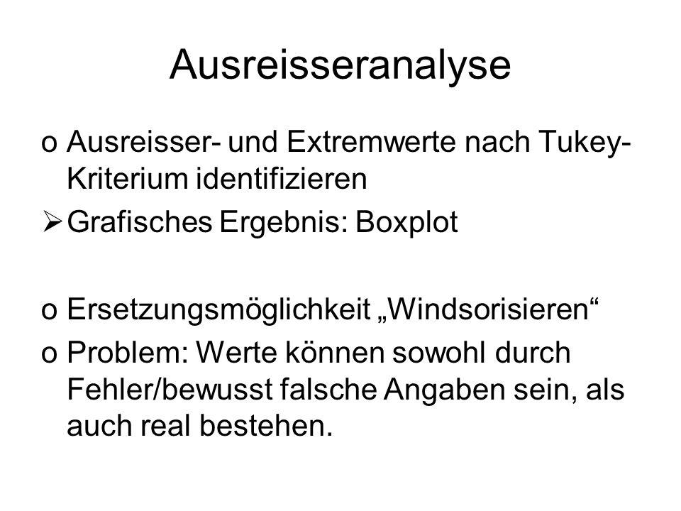 Ausreisseranalyse Ausreisser- und Extremwerte nach Tukey-Kriterium identifizieren. Grafisches Ergebnis: Boxplot.
