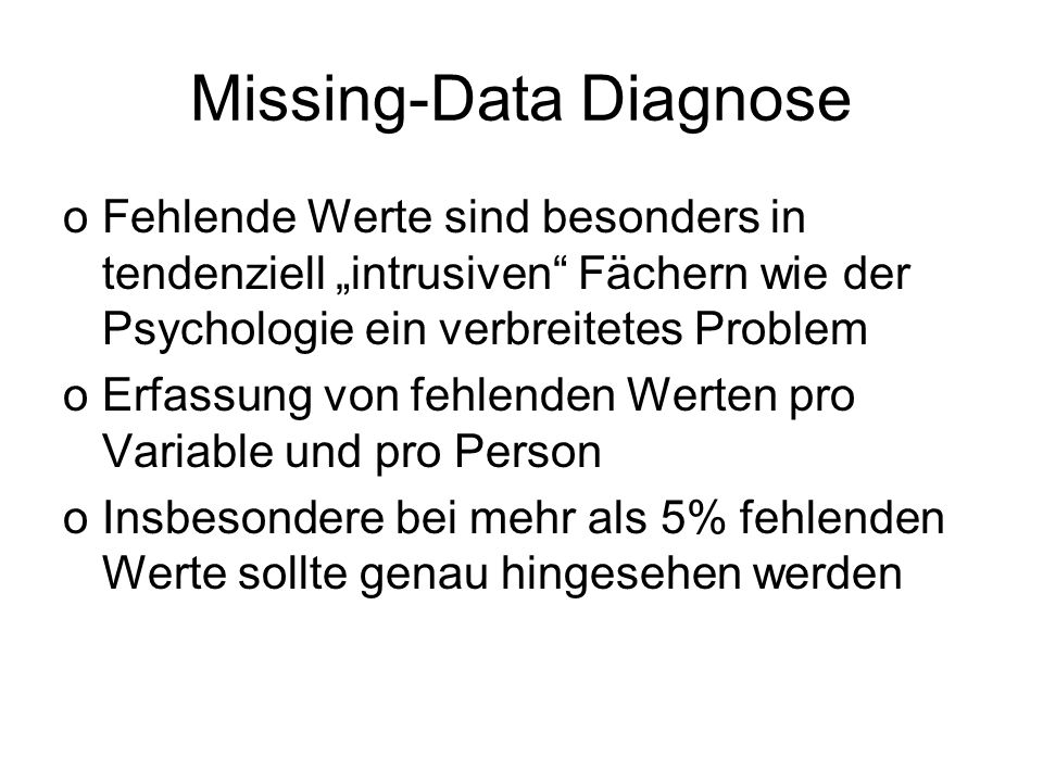 Missing-Data Diagnose