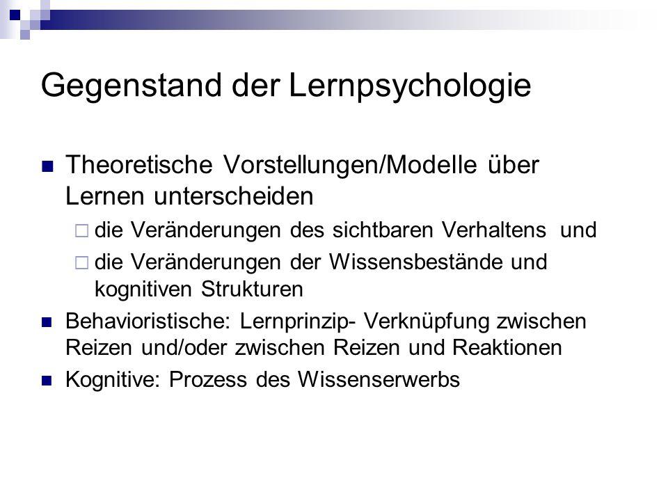 Gegenstand der Lernpsychologie