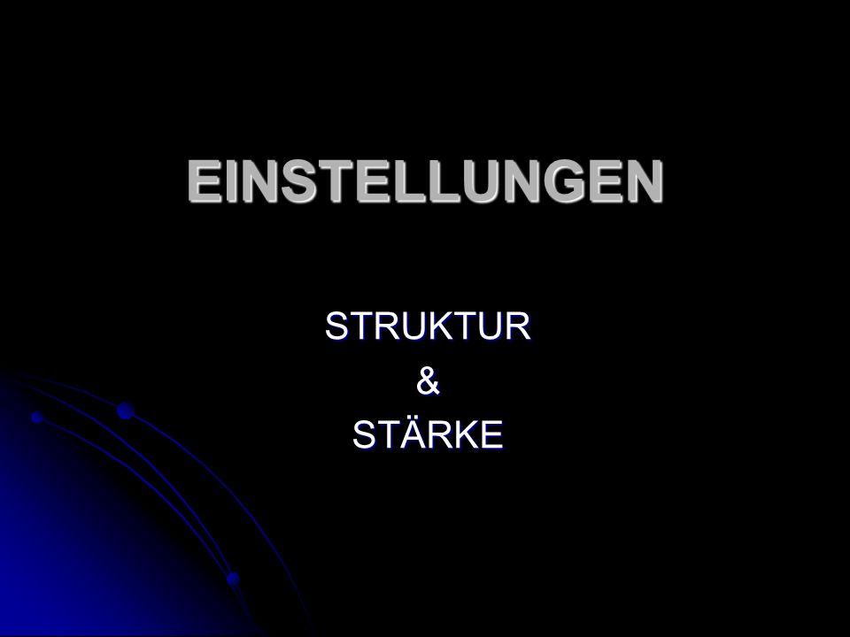 EINSTELLUNGEN STRUKTUR & STÄRKE