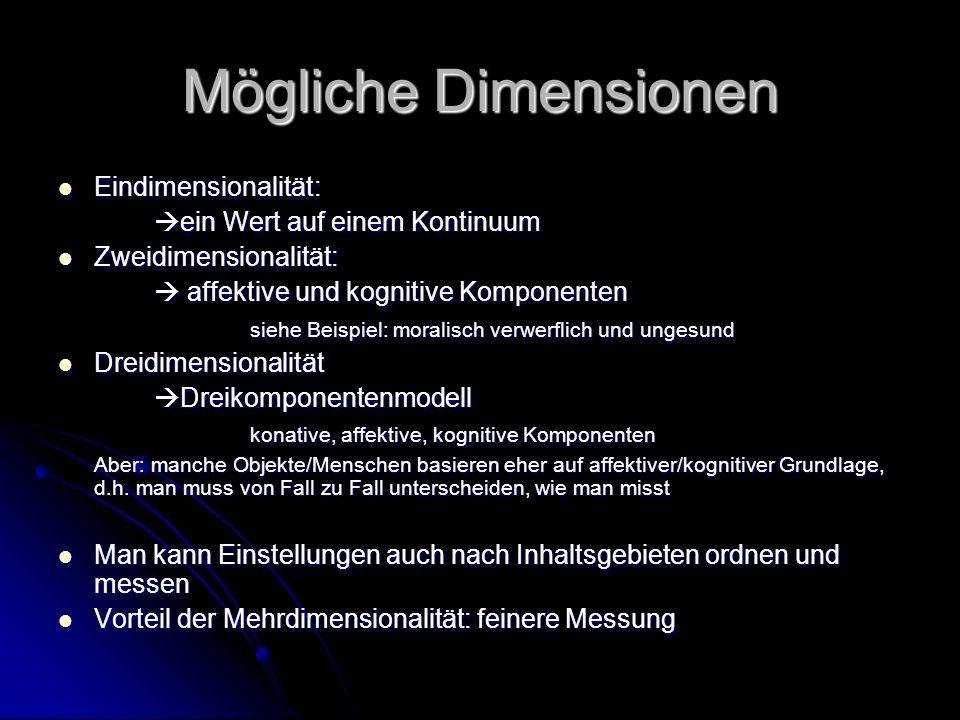 Mögliche Dimensionen Eindimensionalität: ein Wert auf einem Kontinuum