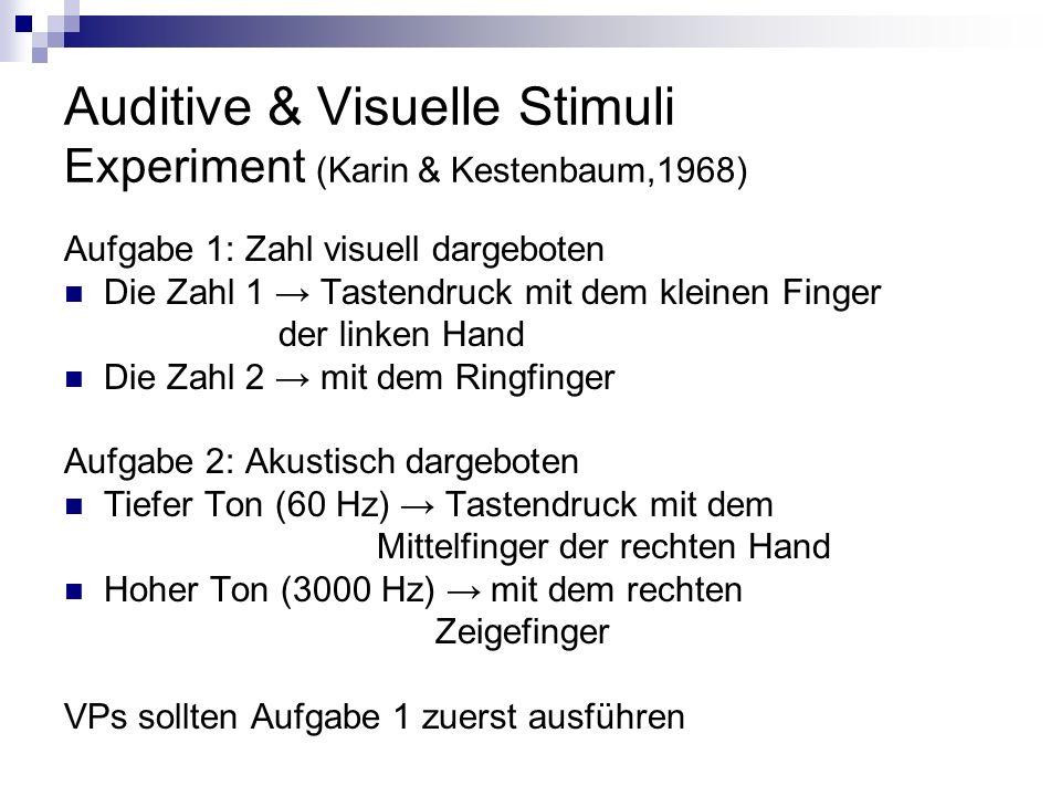 Auditive & Visuelle Stimuli Experiment (Karin & Kestenbaum,1968)