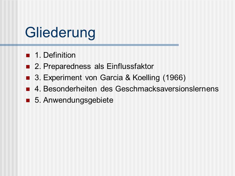 Gliederung 1. Definition 2. Preparedness als Einflussfaktor