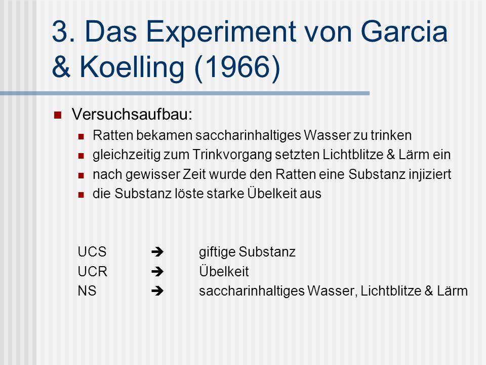 3. Das Experiment von Garcia & Koelling (1966)