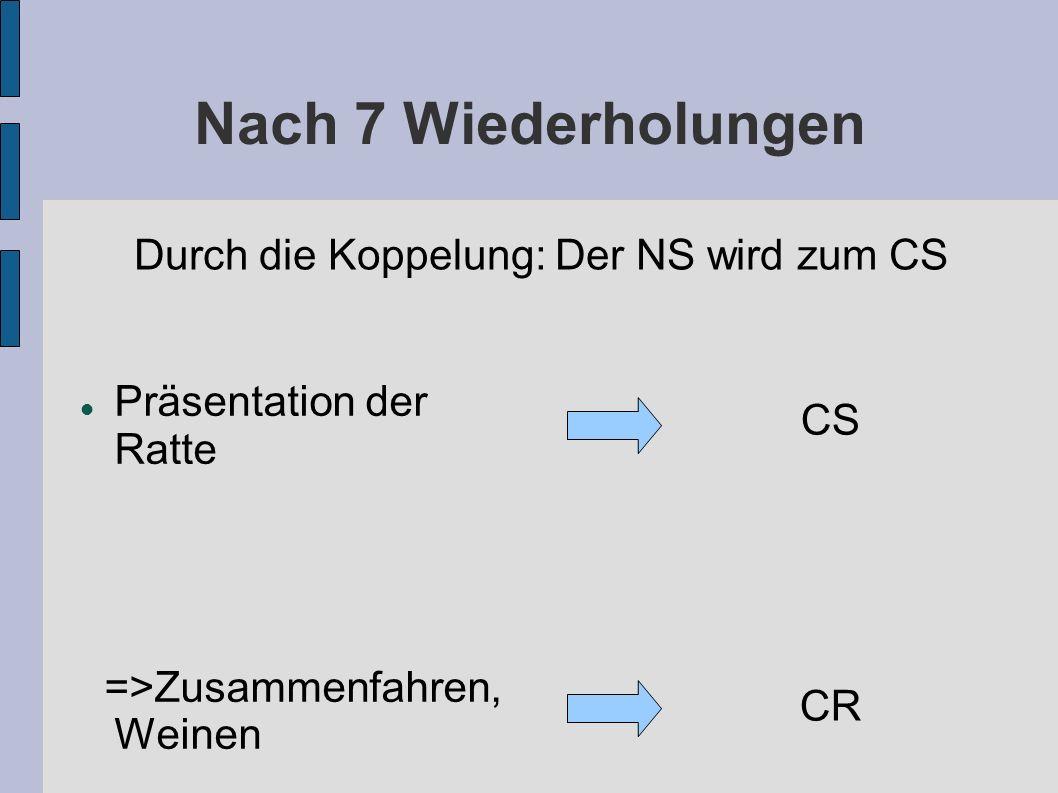 Nach 7 Wiederholungen Durch die Koppelung: Der NS wird zum CS