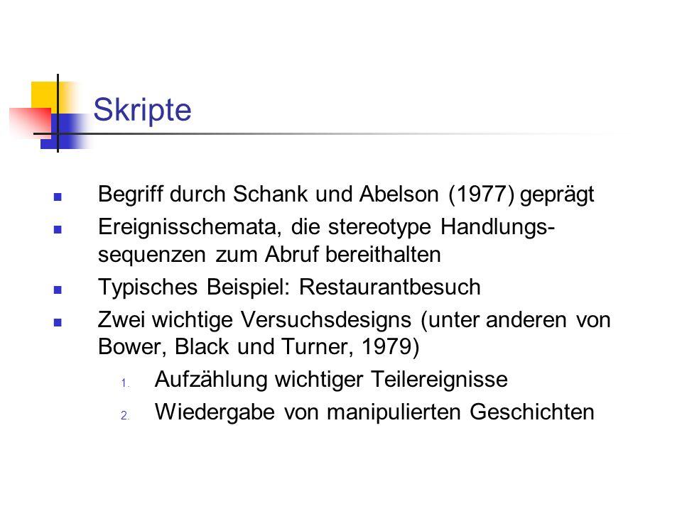 Skripte Begriff durch Schank und Abelson (1977) geprägt