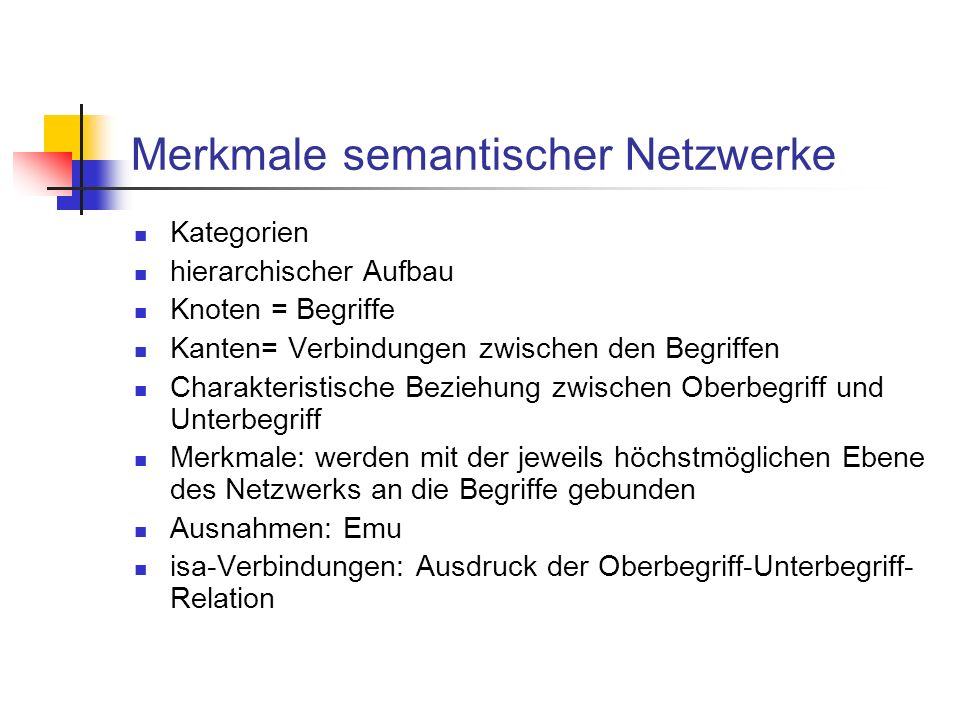 Merkmale semantischer Netzwerke