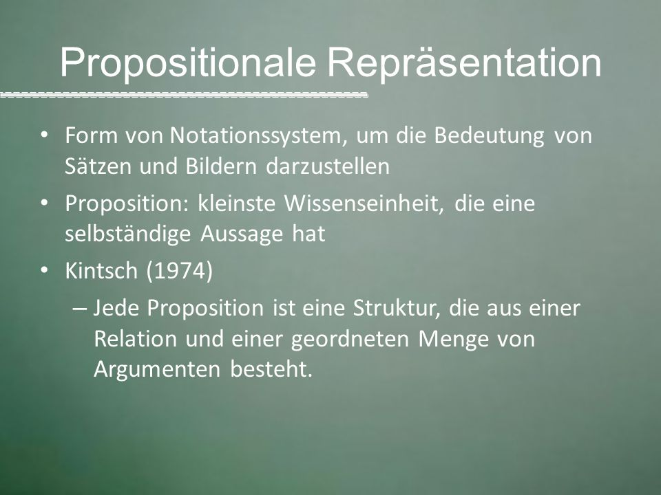 Propositionale Repräsentation