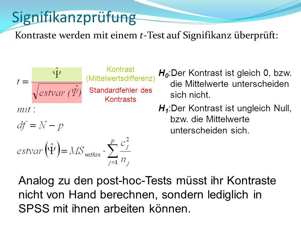 SignifikanzprüfungKontraste werden mit einem t-Test auf Signifikanz überprüft: Kontrast (Mittelwertsdifferenz)