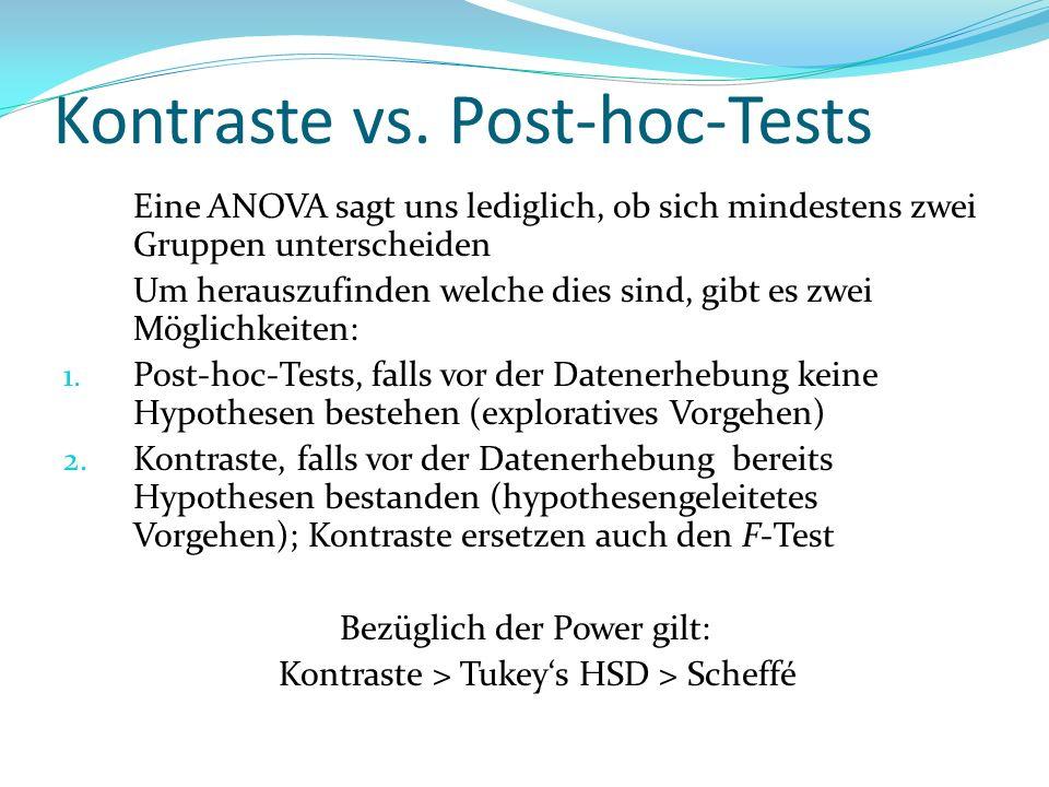 Kontraste vs. Post-hoc-Tests