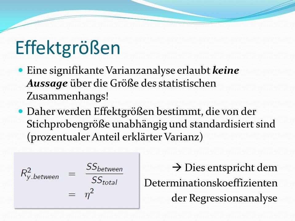 Effektgrößen Eine signifikante Varianzanalyse erlaubt keine Aussage über die Größe des statistischen Zusammenhangs!