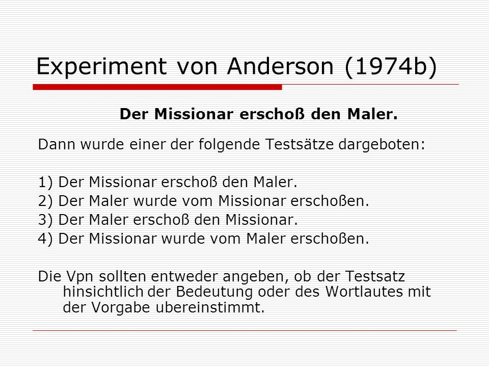 Experiment von Anderson (1974b)