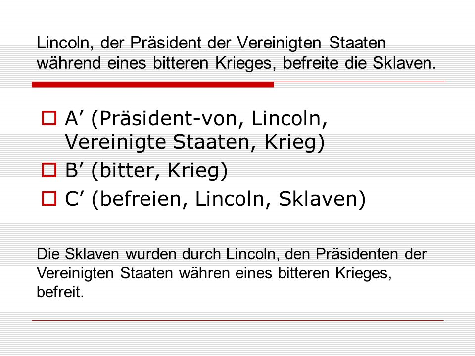 A' (Präsident-von, Lincoln, Vereinigte Staaten, Krieg)