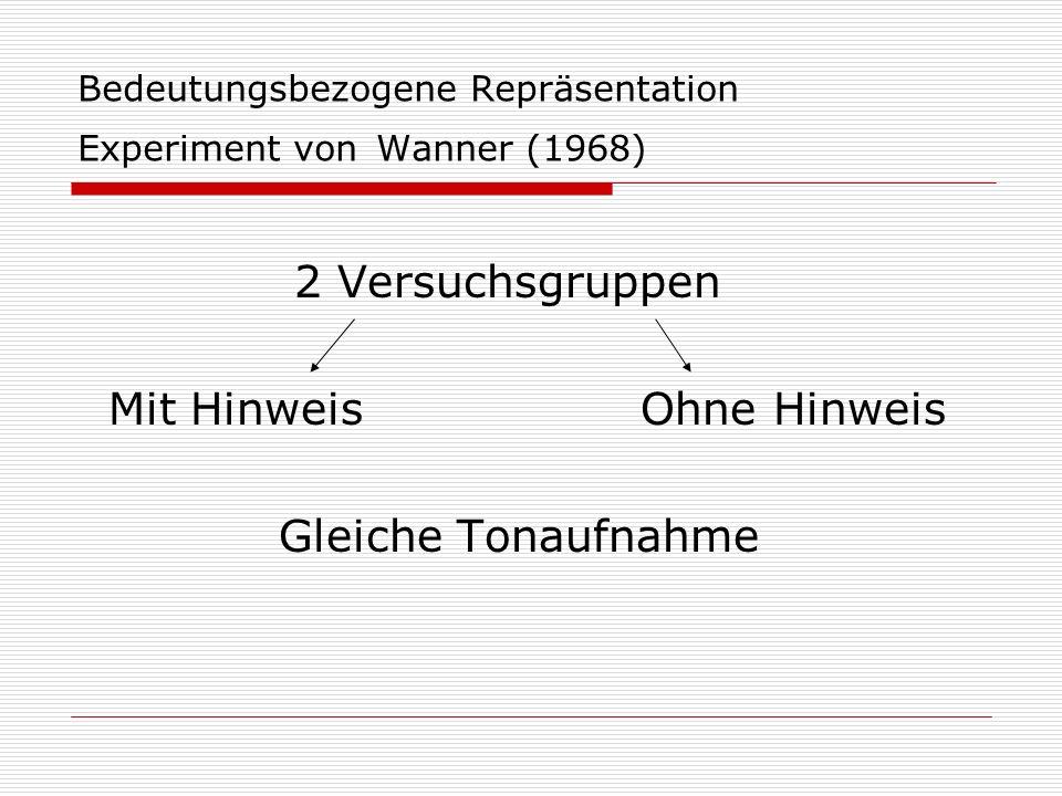Bedeutungsbezogene Repräsentation Experiment von Wanner (1968)