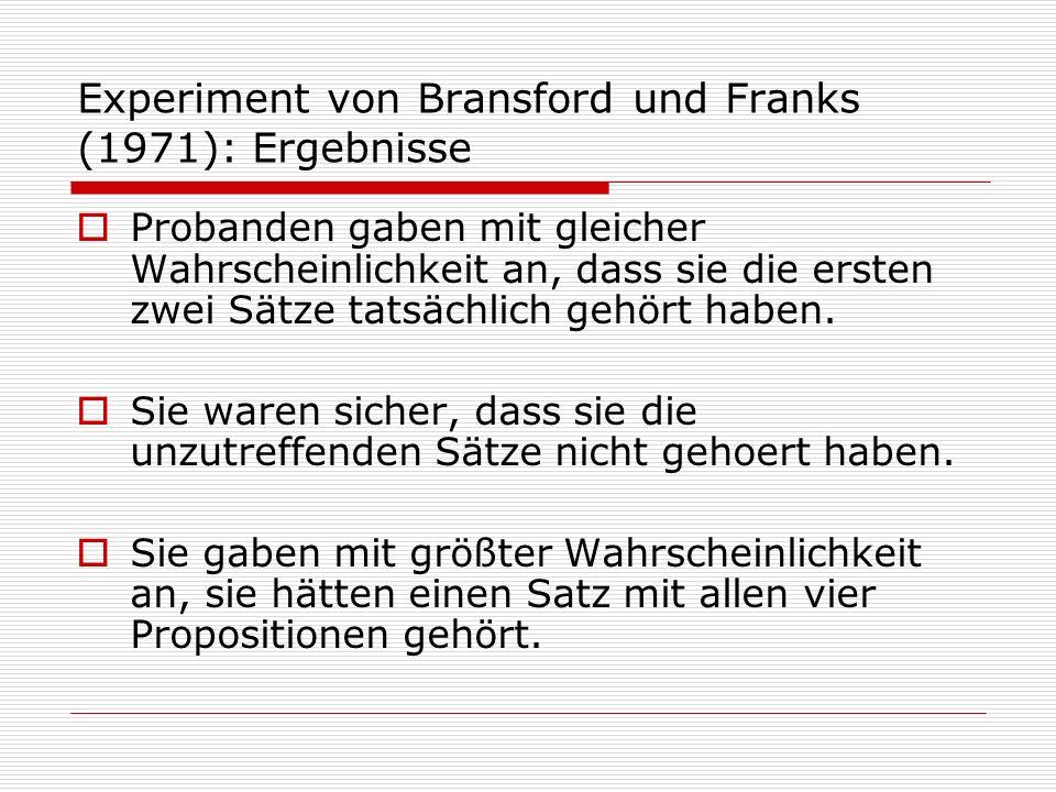 Experiment von Bransford und Franks (1971): Ergebnisse