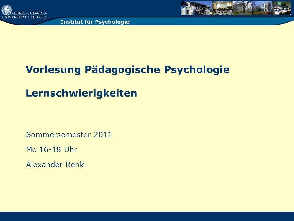 Vorlesung Pädagogische Psychologie Lernschwierigkeiten