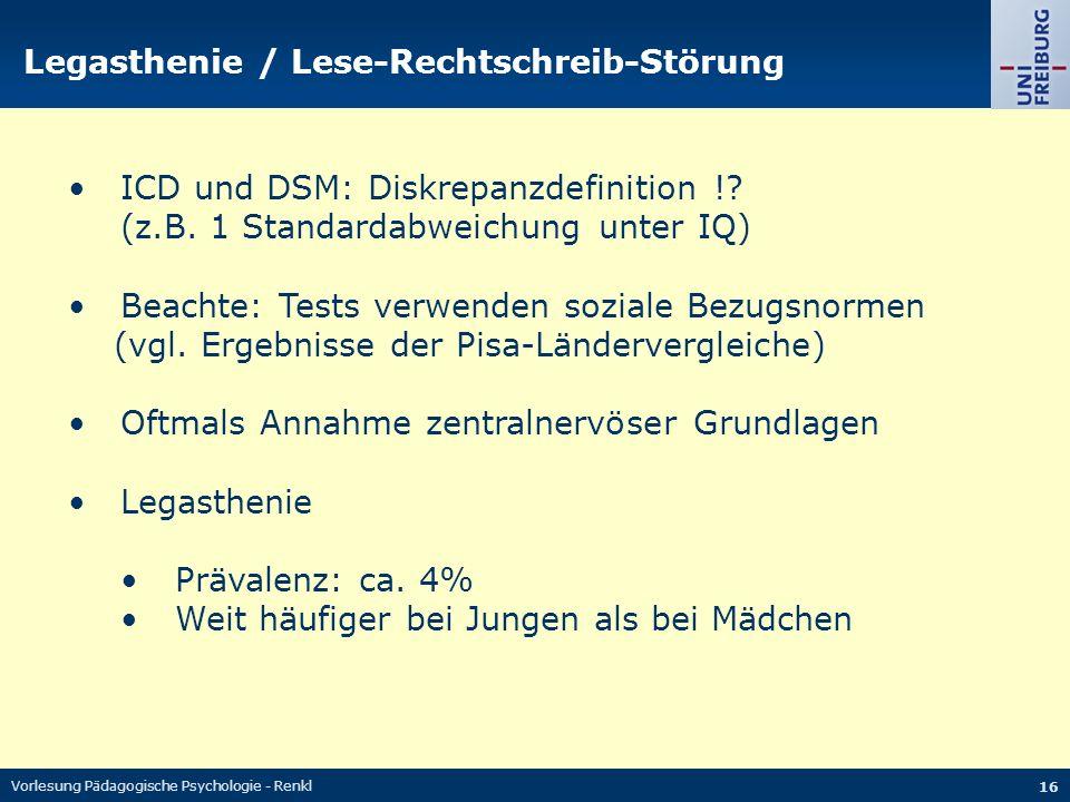 Legasthenie / Lese-Rechtschreib-Störung