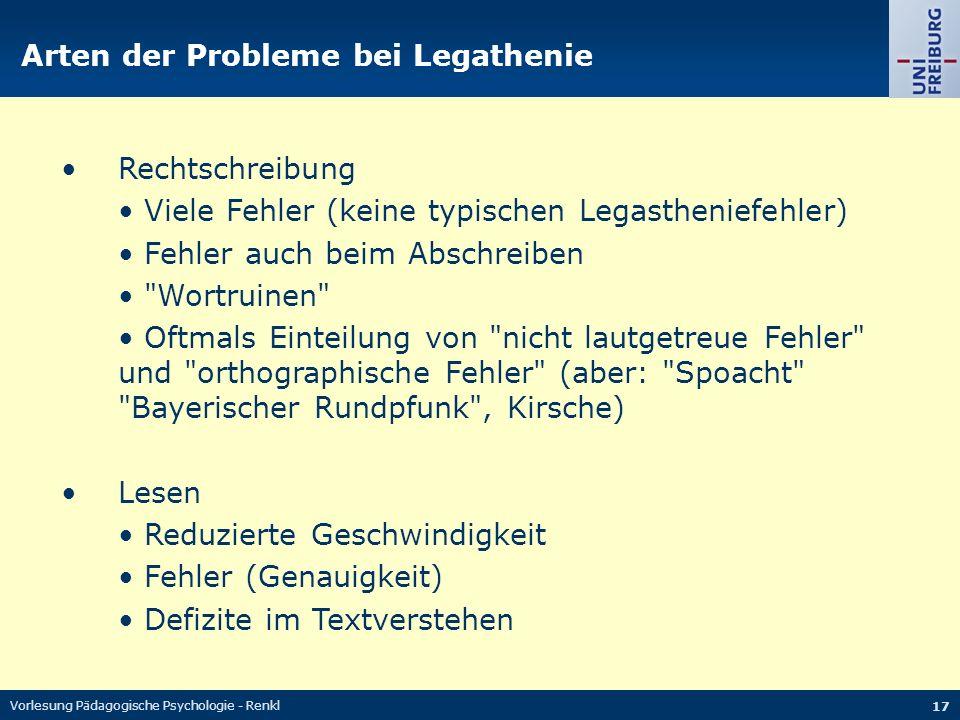 Arten der Probleme bei Legathenie