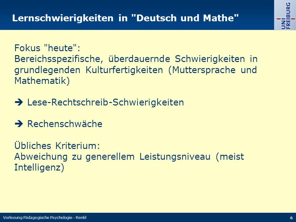 Lernschwierigkeiten in Deutsch und Mathe
