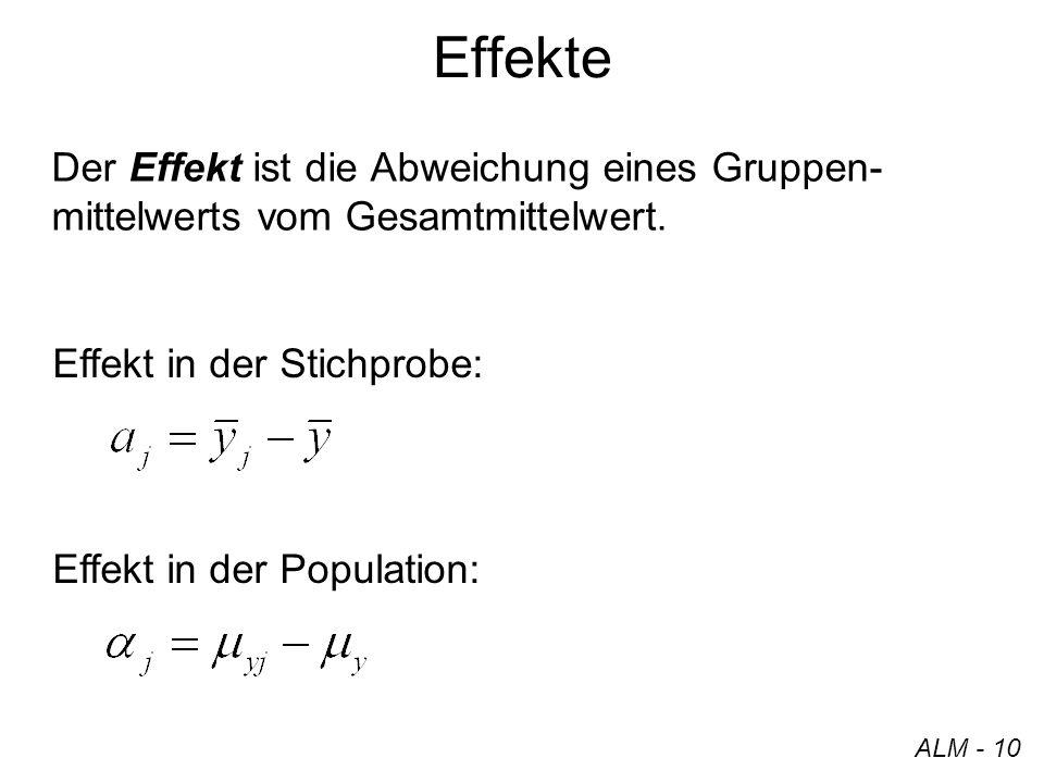 Effekte Der Effekt ist die Abweichung eines Gruppen-mittelwerts vom Gesamtmittelwert. Effekt in der Stichprobe: