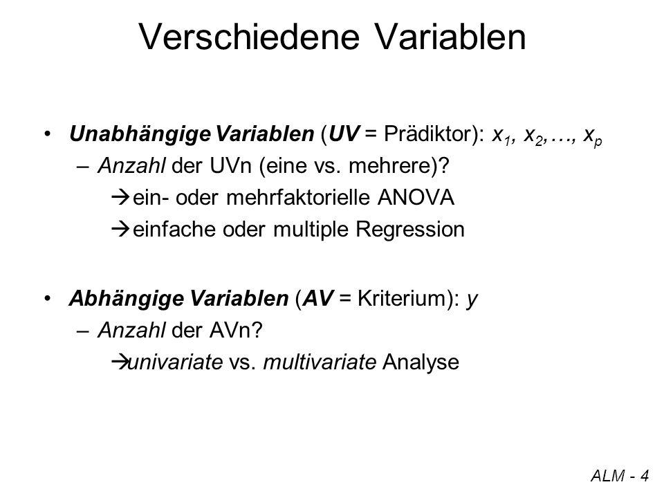 Verschiedene Variablen