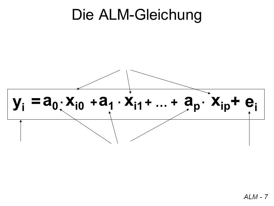 yi = a0 a1 ap xi0 xi1 xip + ei Die ALM-Gleichung · + · + … + · ALM - 7