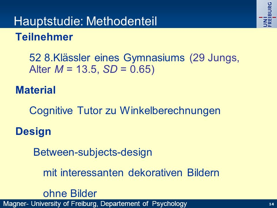 Hauptstudie: Methodenteil