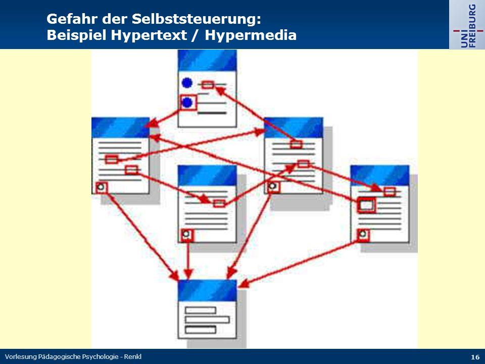 Gefahr der Selbststeuerung: Beispiel Hypertext / Hypermedia