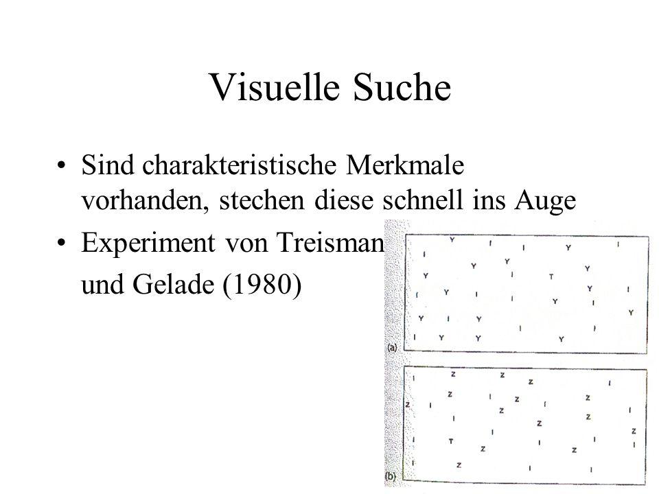 Visuelle Suche Sind charakteristische Merkmale vorhanden, stechen diese schnell ins Auge. Experiment von Treisman.