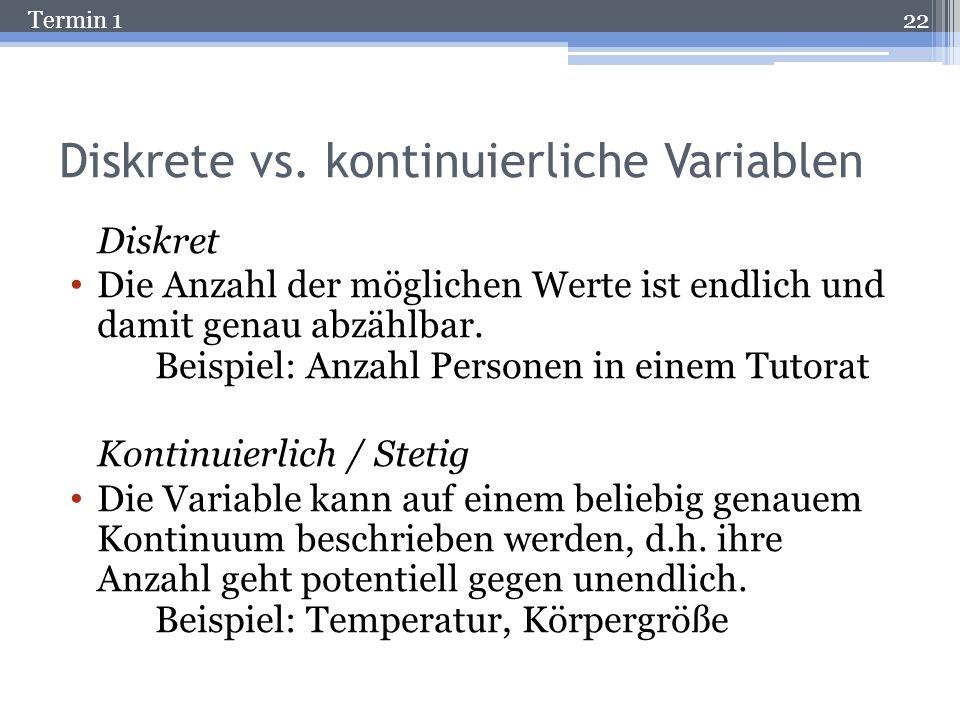 Diskrete vs. kontinuierliche Variablen