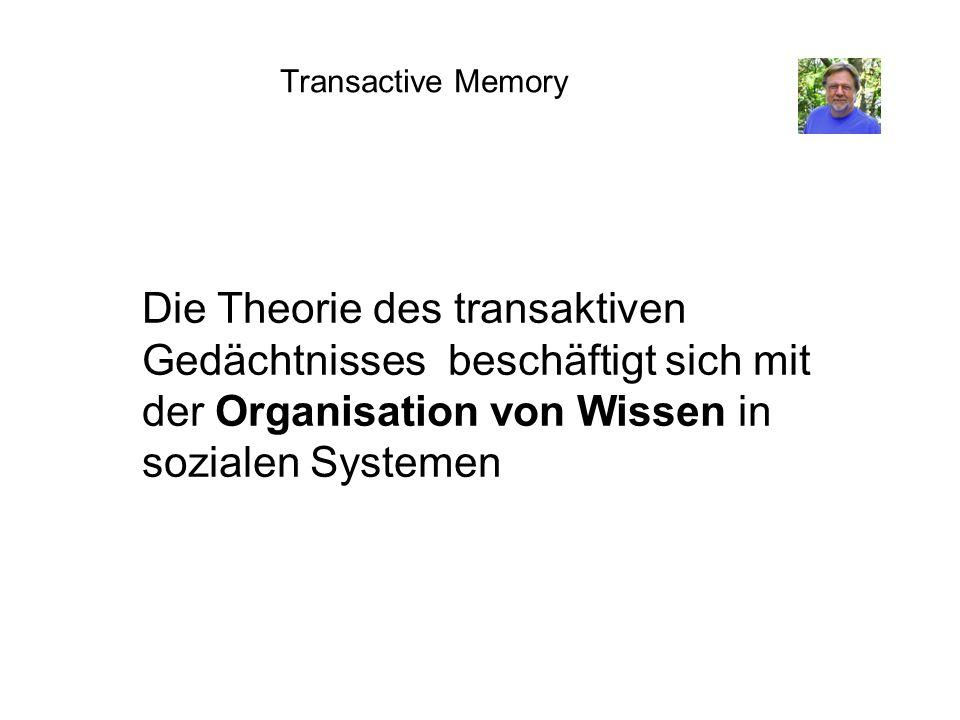 Transactive Memory Die Theorie des transaktiven Gedächtnisses beschäftigt sich mit der Organisation von Wissen in sozialen Systemen.