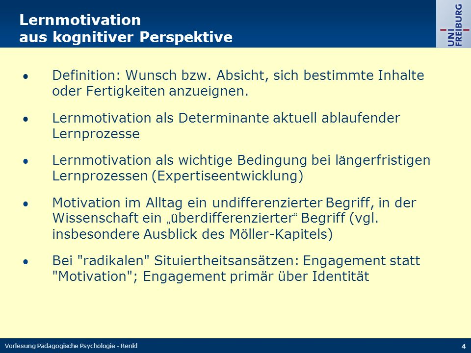 Lernmotivation aus kognitiver Perspektive