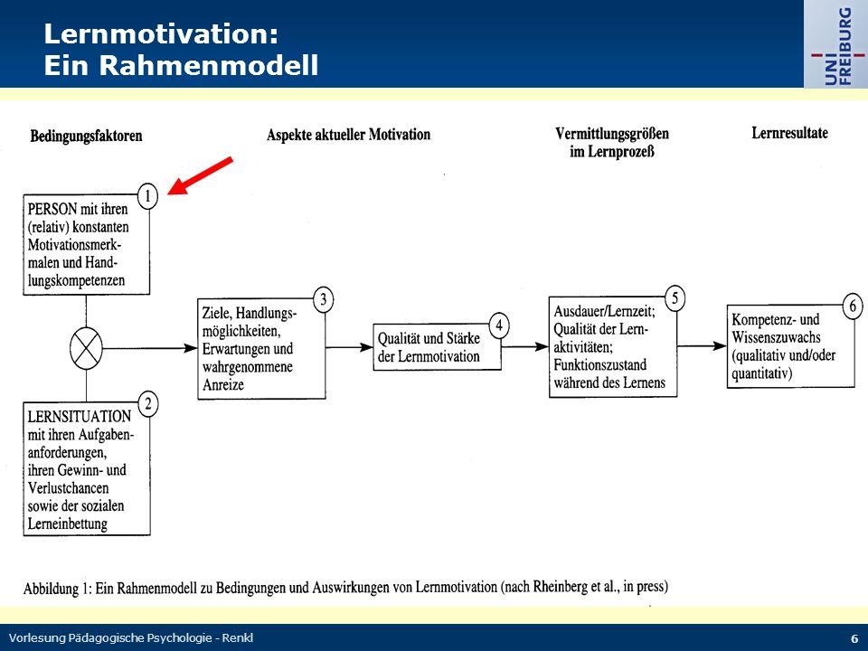 Lernmotivation: Ein Rahmenmodell