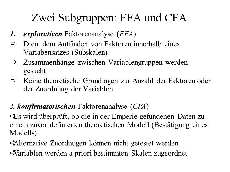 Zwei Subgruppen: EFA und CFA