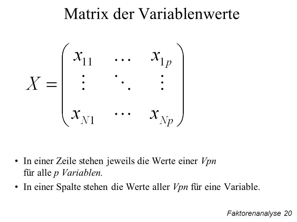 Matrix der Variablenwerte