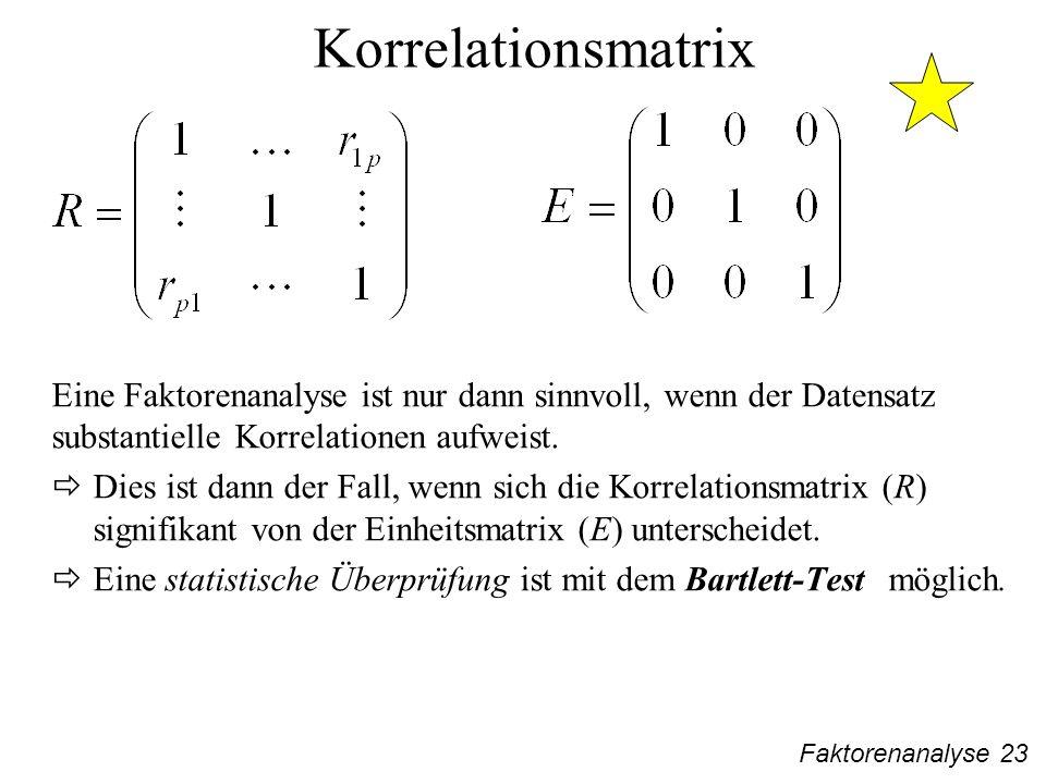 Korrelationsmatrix Eine Faktorenanalyse ist nur dann sinnvoll, wenn der Datensatz substantielle Korrelationen aufweist.