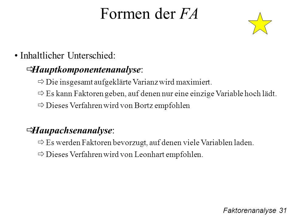 Formen der FA Inhaltlicher Unterschied: Hauptkomponentenanalyse: