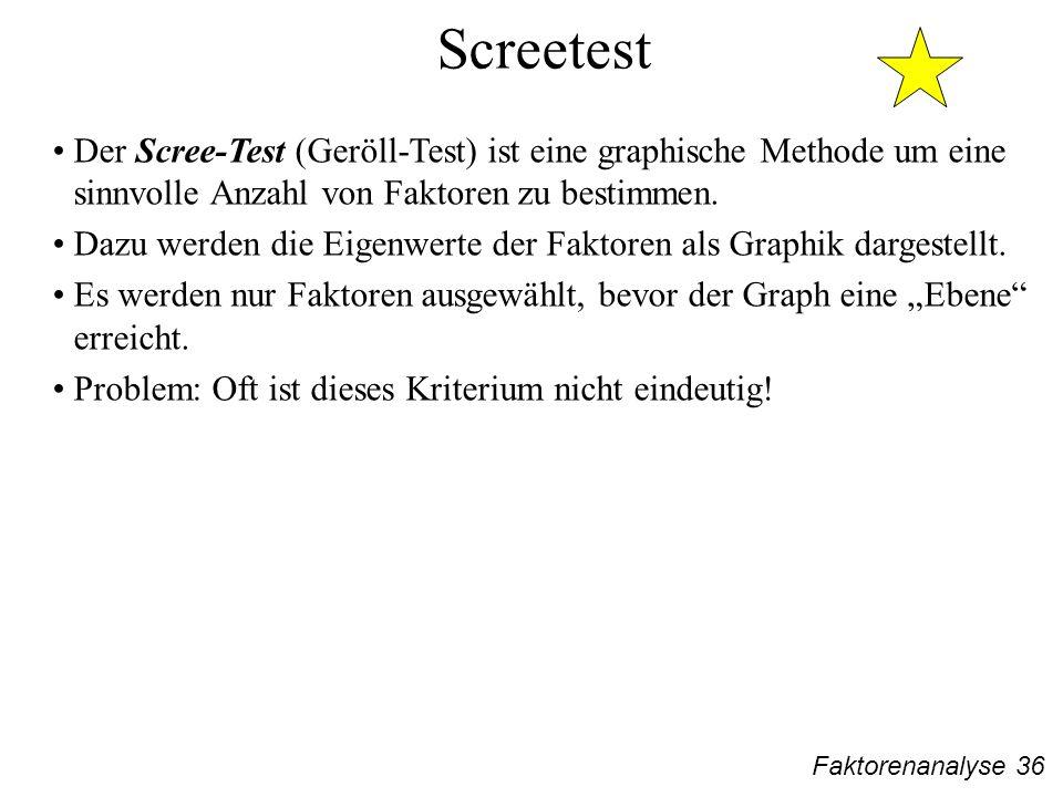 Screetest Der Scree-Test (Geröll-Test) ist eine graphische Methode um eine sinnvolle Anzahl von Faktoren zu bestimmen.