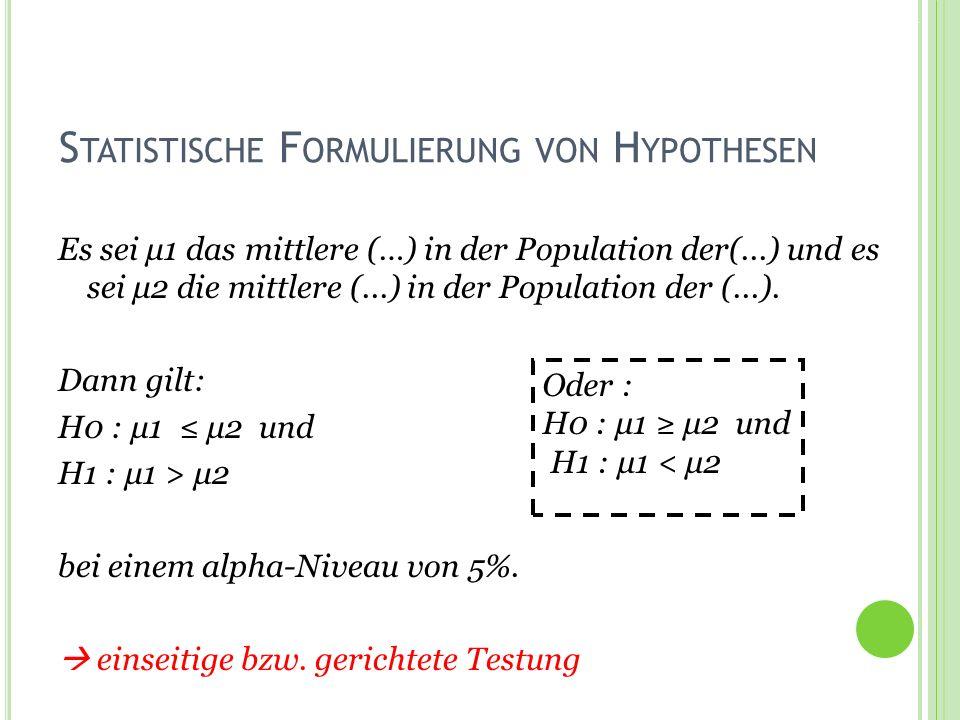 Statistische Formulierung von Hypothesen