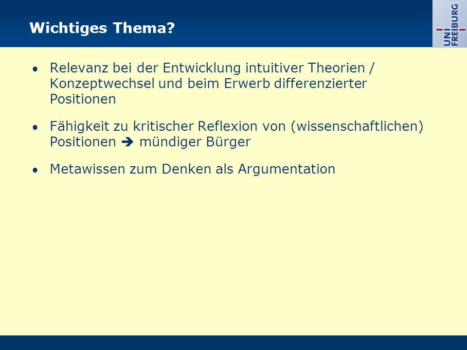 Wichtiges Thema  Relevanz bei der Entwicklung intuitiver Theorien / Konzeptwechsel und beim Erwerb differenzierter Positionen.