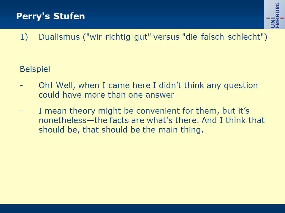 Perry s Stufen Dualismus ( wir-richtig-gut versus die-falsch-schlecht ) Beispiel.