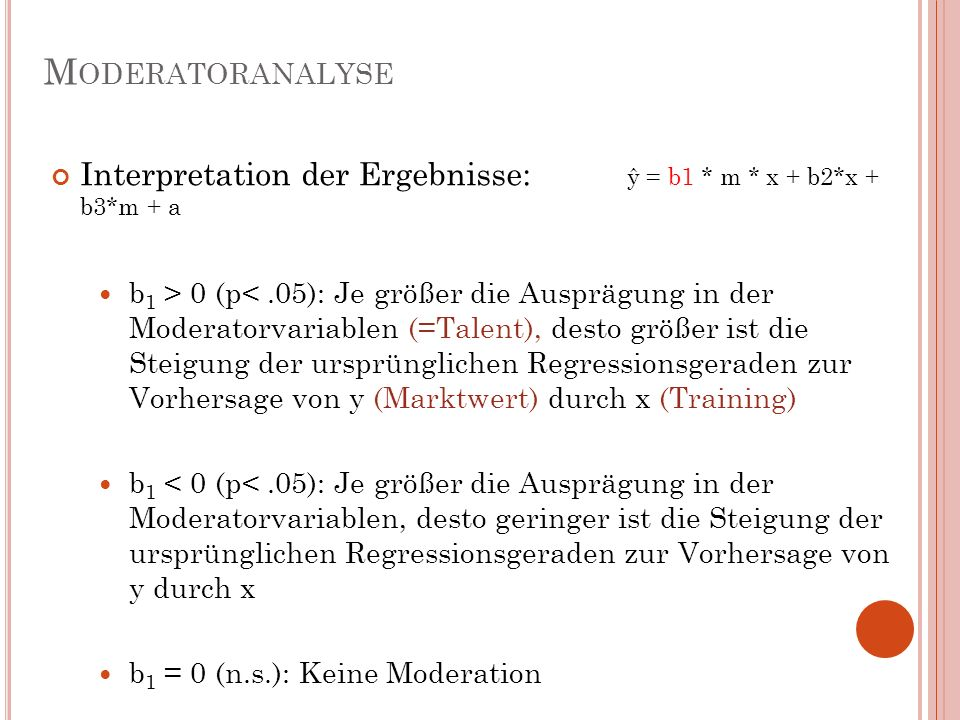 Moderatoranalyse Interpretation der Ergebnisse: ŷ = b1 * m * x + b2*x + b3*m + a.