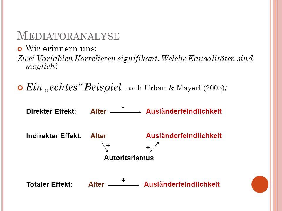"""Mediatoranalyse Ein """"echtes Beispiel nach Urban & Mayerl (2005):"""