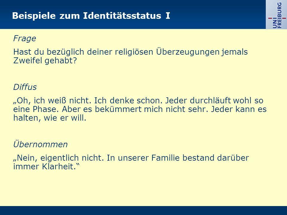 Beispiele zum Identitätsstatus I