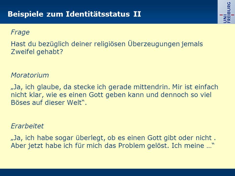 Beispiele zum Identitätsstatus II
