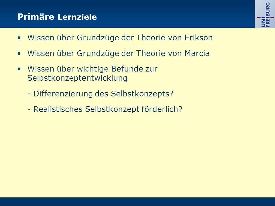 Primäre Lernziele Wissen über Grundzüge der Theorie von Erikson