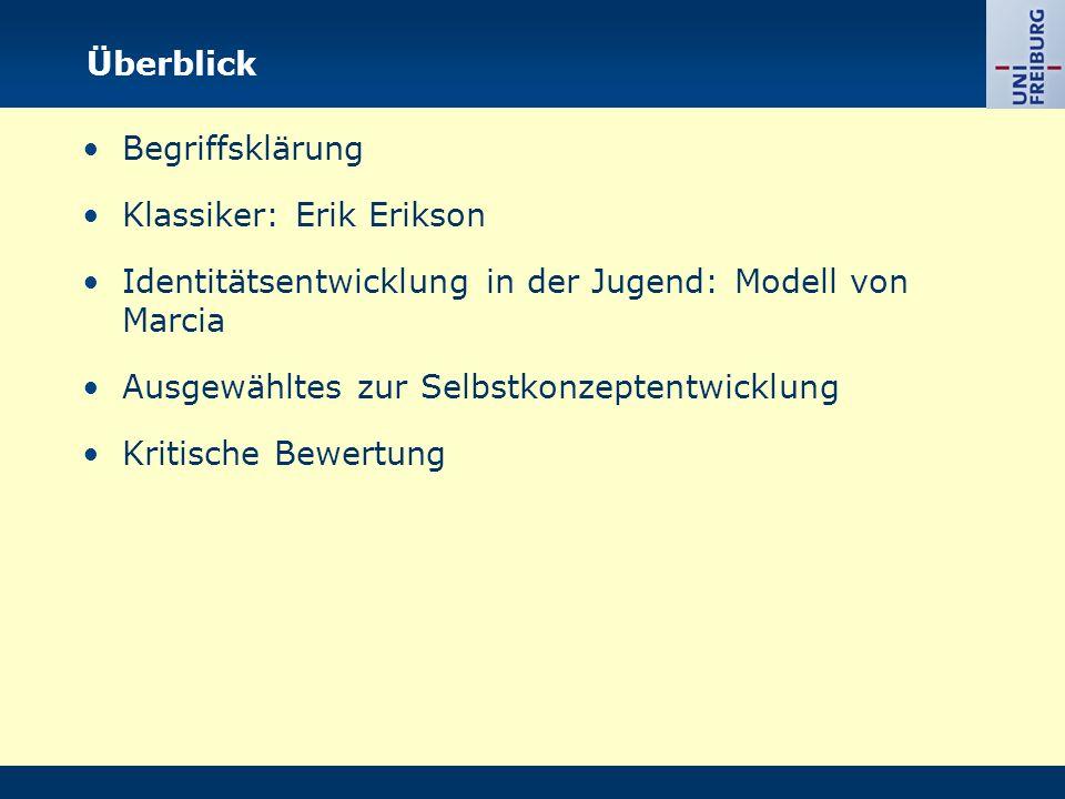 Überblick Begriffsklärung. Klassiker: Erik Erikson. Identitätsentwicklung in der Jugend: Modell von Marcia.