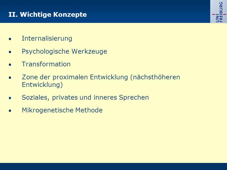 II. Wichtige Konzepte  Internalisierung.  Psychologische Werkzeuge.  Transformation.