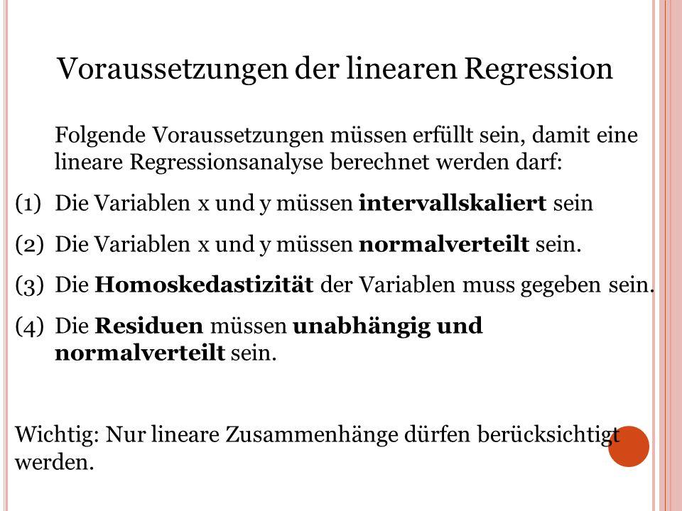 Voraussetzungen der linearen Regression